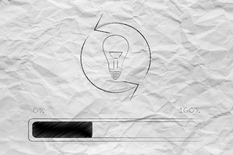 Light bulb with arrows spinning over progress bar loading stock illustration