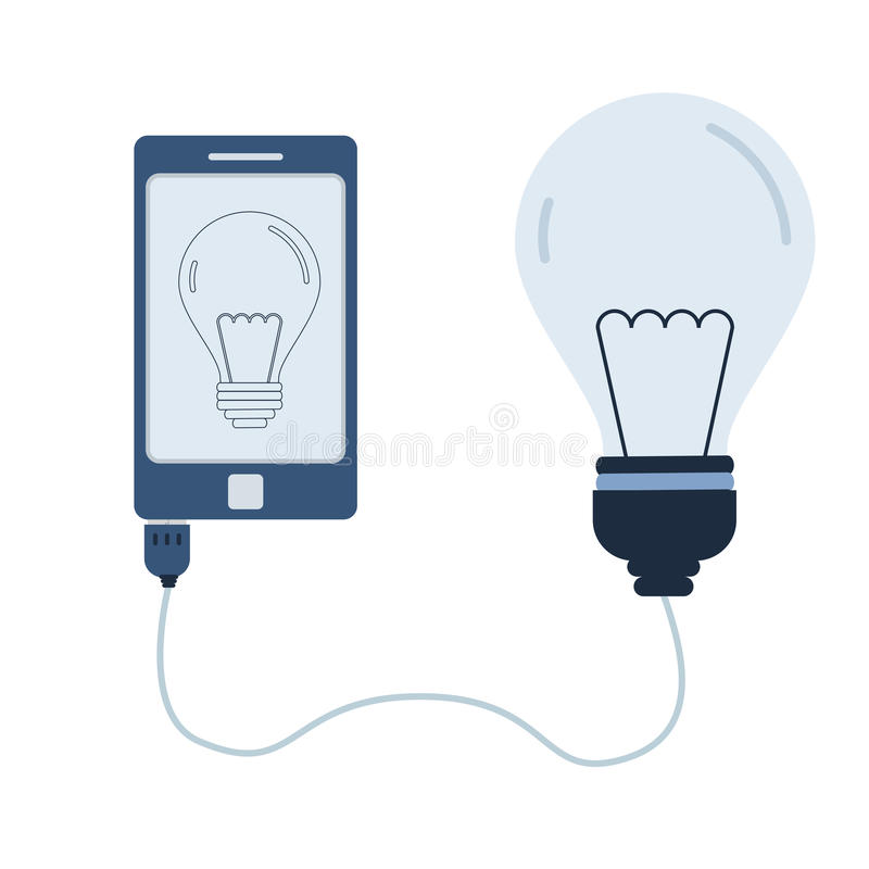 Light bulb automation using cell phone. Light bulb connected to a cell phone through a usb cable. Outline of the lamp bulb being shown on the mobile monitor stock illustration
