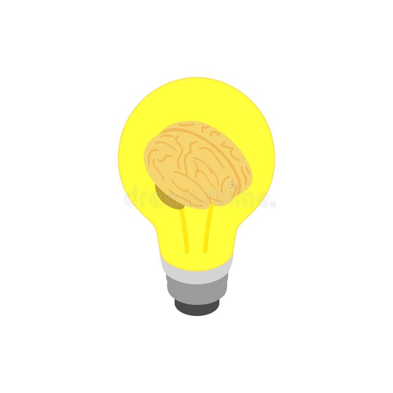 Light bulb brain icon, isometric 3d style royalty free illustration