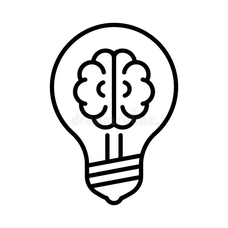 Brain in light bulb line icon. Light bulb and brain icon, outline vector sign. Black line style. Isolated pictogram against white background royalty free illustration