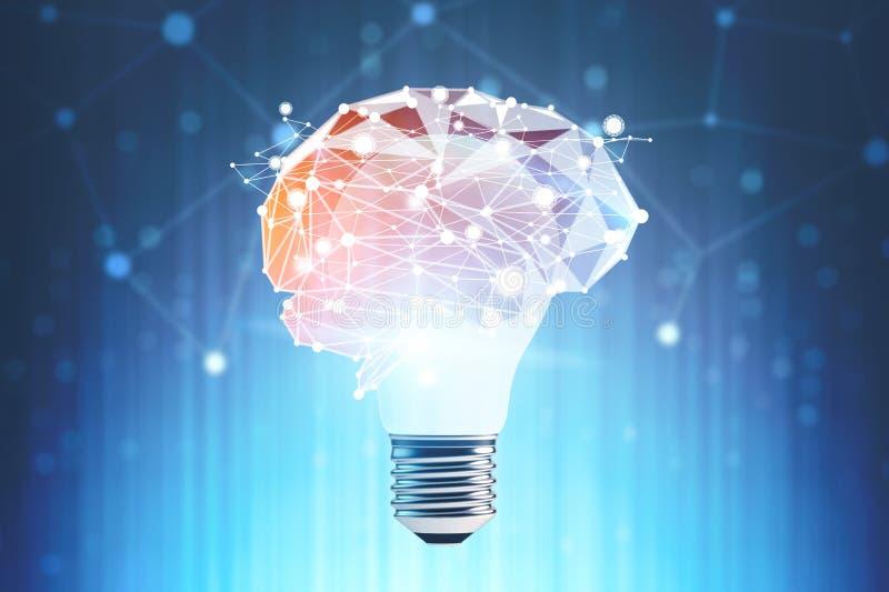 Light bulb brain immersive interface stock illustration