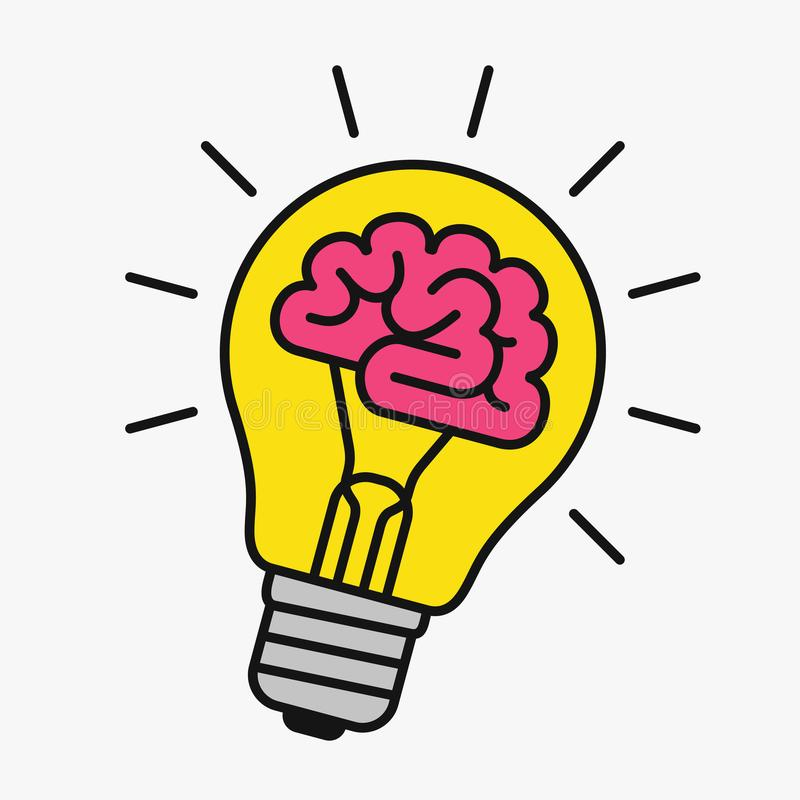 Light bulb with a brain inside vector illustration