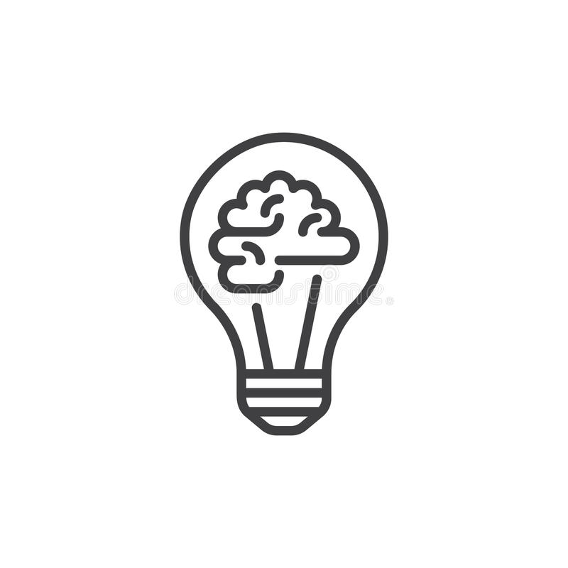 Light bulb and brain line icon, outline vector sign, linear style pictogram isolated on white. Creative idea symbol, logo illustration. Editable stroke. Pixel royalty free illustration