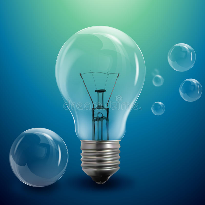 Light bulb and bubbles vector illustration
