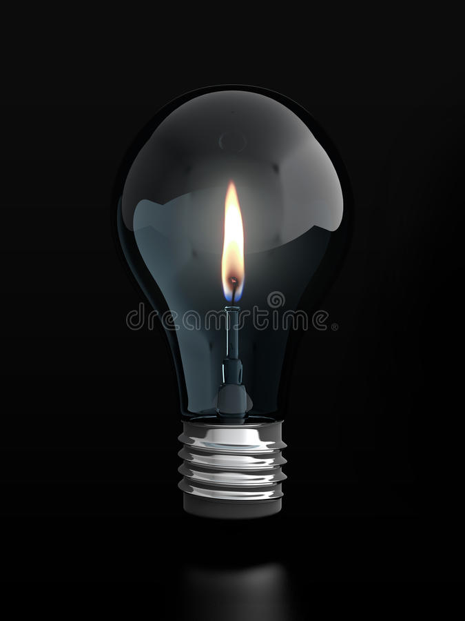 Light bulb with candle flame vector illustration