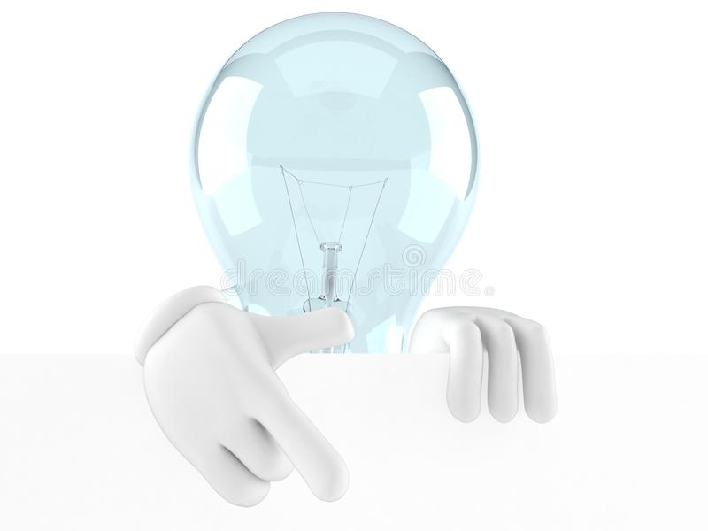 Light bulb character behind white wall vector illustration