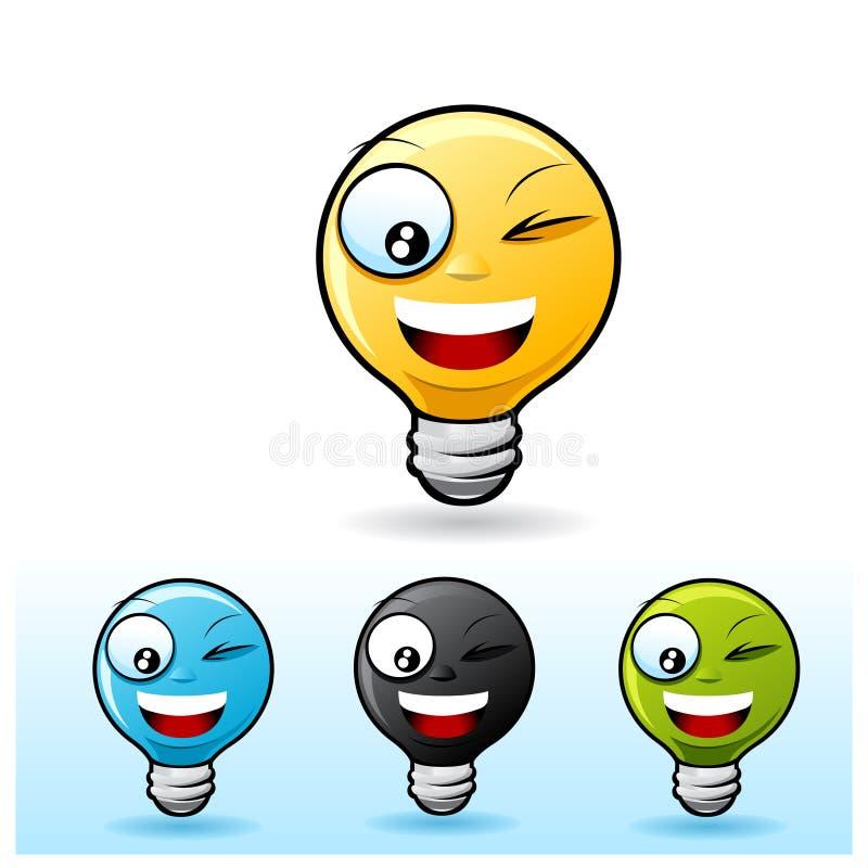 Light bulb character: Blinking. Light bulb smiley face icon. Blinking royalty free illustration