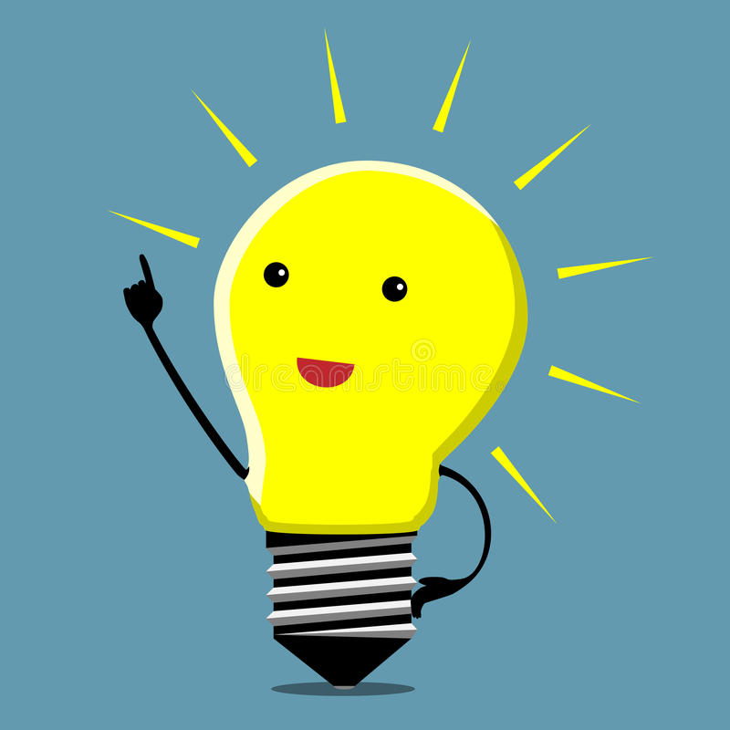 Light bulb character, insight royalty free illustration