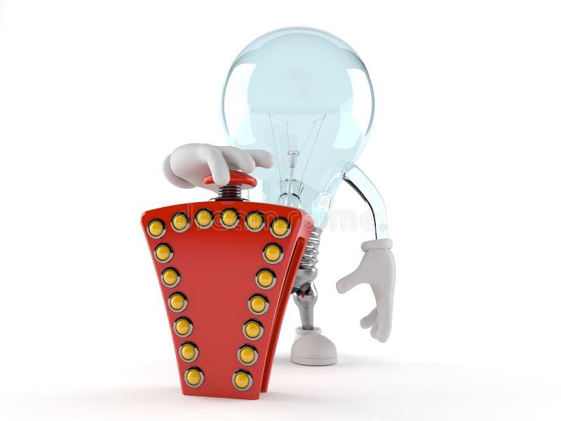 Light bulb character pushing quiz button stock illustration