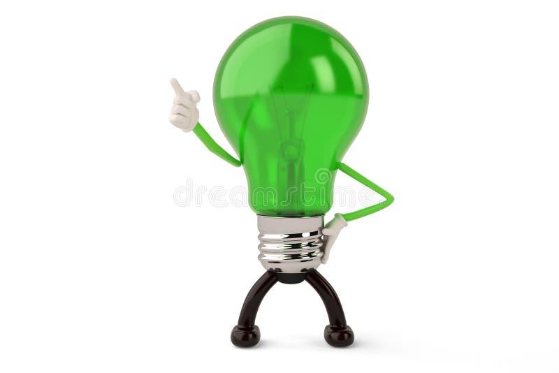 Light bulb character on white background 3D illustration. 。 royalty free illustration