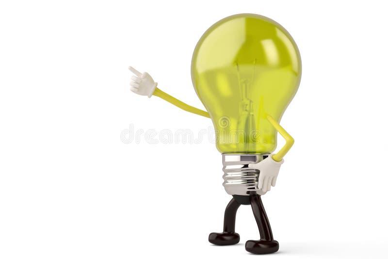 Light bulb character on white background 3D illustration.  stock illustration