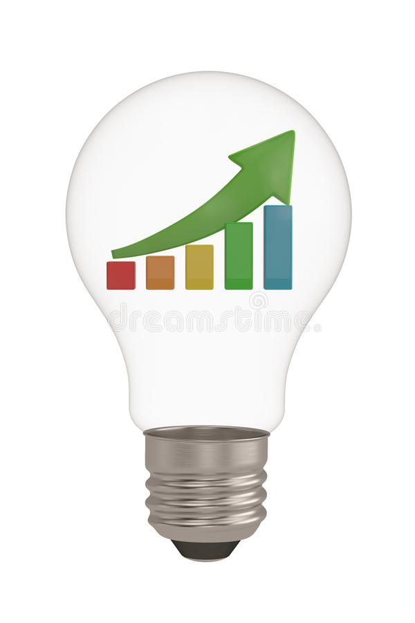 Light bulb and chart isolated on white background 3D illustration.  royalty free illustration