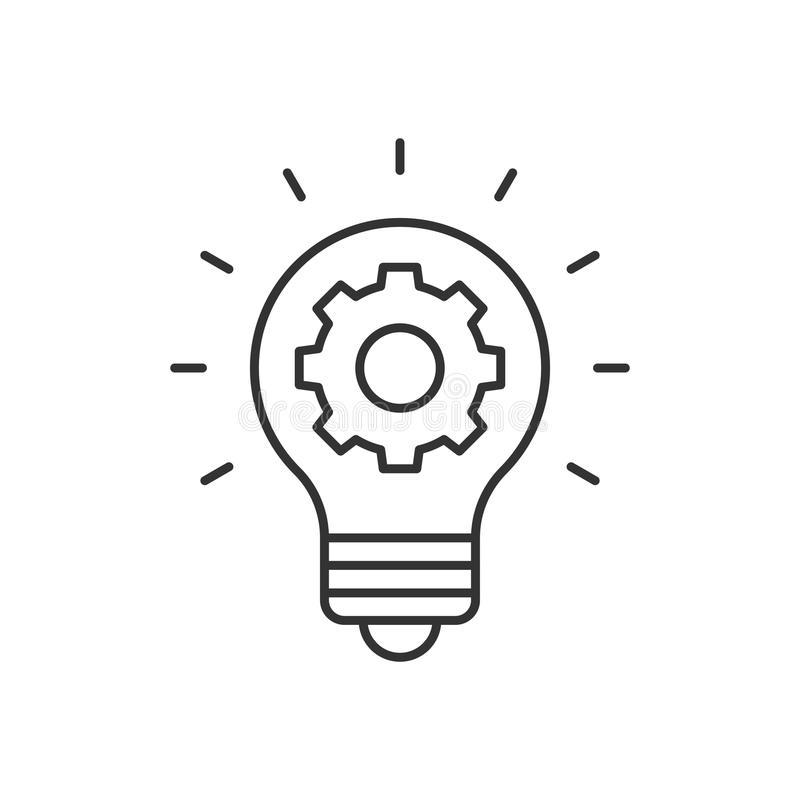 Light bulb and cog inside. Outline icon vector illustration