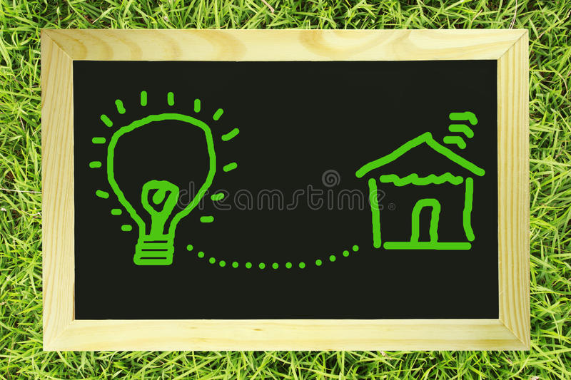 Download Light Bulb Connect With House On Blackboard Stock Photo - Image of connect, detail: 22843298