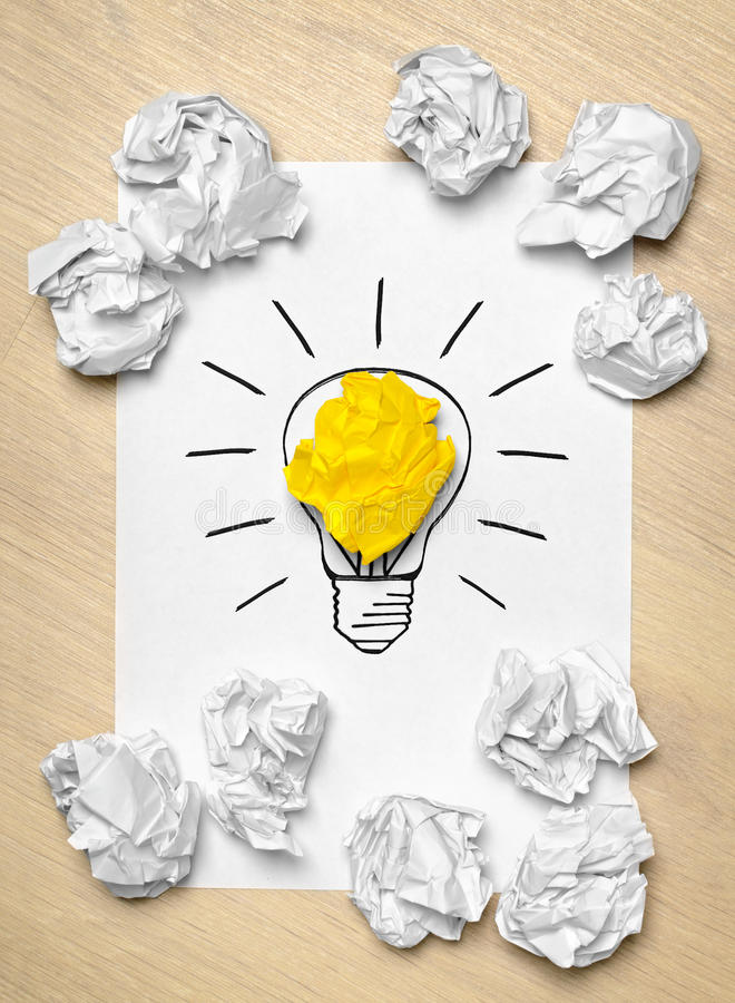 Download Light bulb crumpled paper stock illustration. Image of glow - 35119943