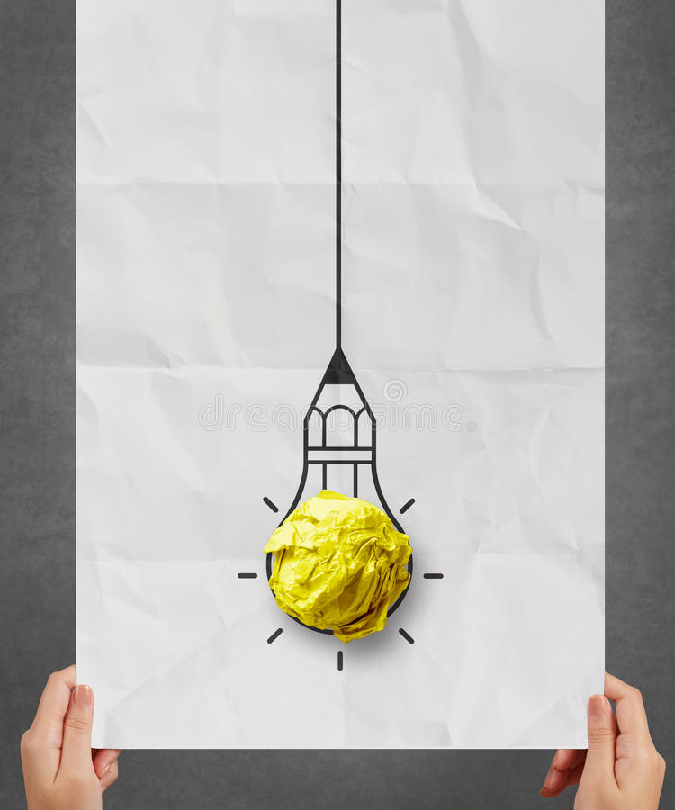 Light bulb crumpled paper in pencil light bulb royalty free stock photos
