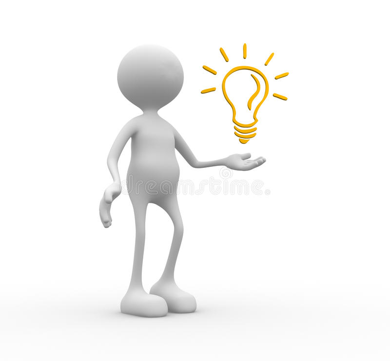 Light bulb. 3d people - man, person and light bulb royalty free illustration