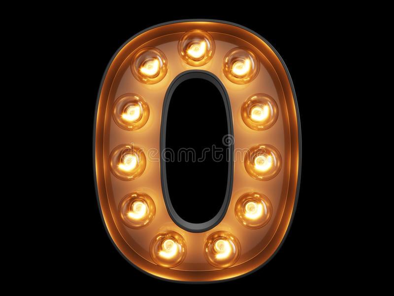 Light bulb digit alphabet character 0 zero null font. Light bulb glowing digit alphabet character 0 zero null font. Front view illuminated number 1 symbol on stock illustration