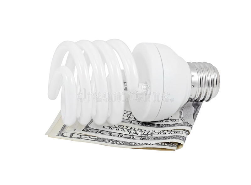Light bulb and and dollar stock image