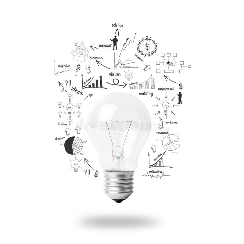 Light Bulb With Drawing Business Plan Strategy Concept Idea Stock