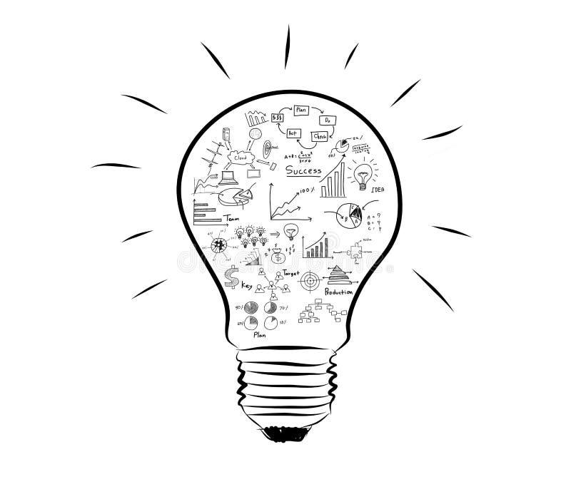 Line Art Light Bulb : Light bulb with drawing graph inside stock illustration