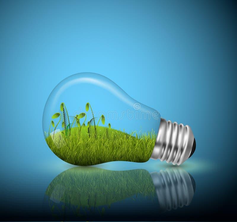 Light bulb, ecological concept. In illustration vector stock illustration