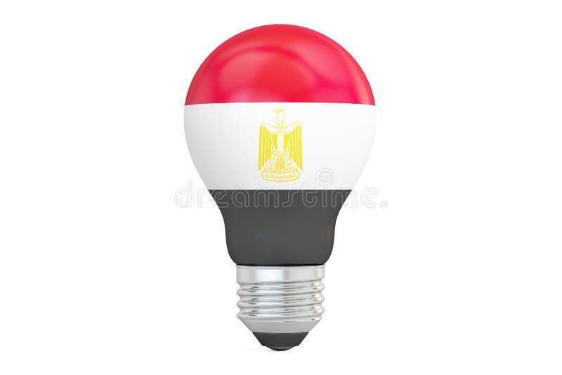 Light bulb with Egypt flag, 3D rendering royalty free illustration