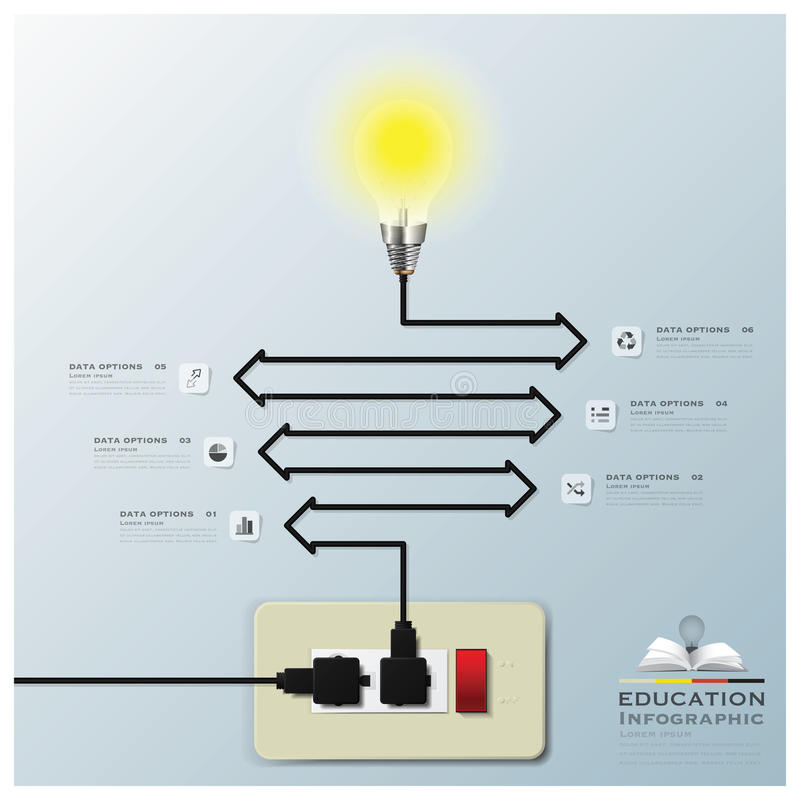 Light Bulb Electric Line Education Infographic Background. Design Template royalty free illustration