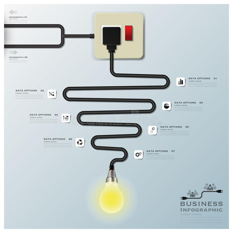 Light Bulb Electric Wire Line Business Infographic. Design Template stock illustration