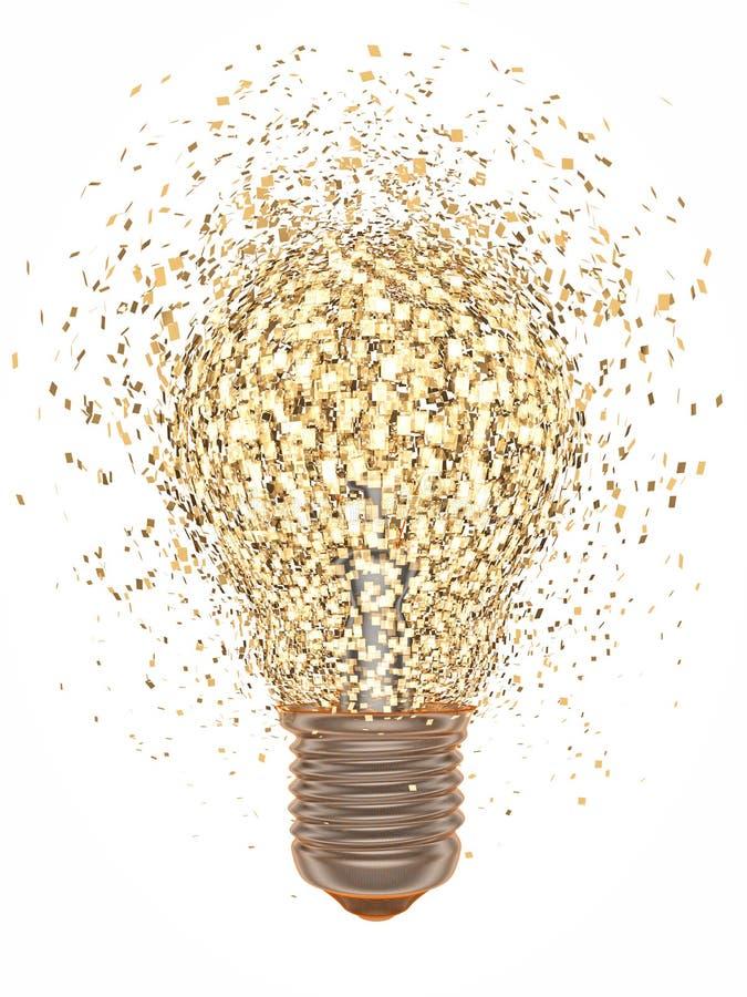 Light bulb exploding. Over white background royalty free illustration