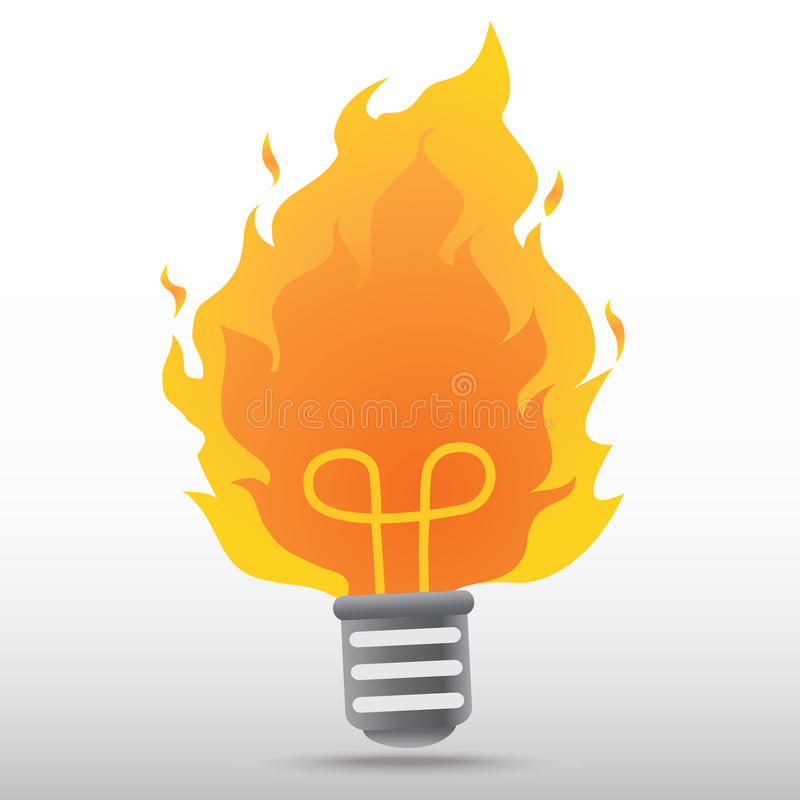 Light bulb with fire vector illustration