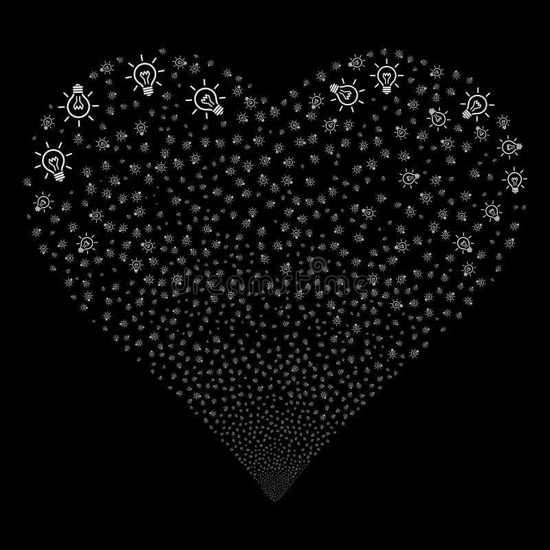 Light Bulb Fireworks Heart. Light Bulb fireworks with heart shape. Raster illustration style is flat white iconic symbols on a black background. Object love stock illustration