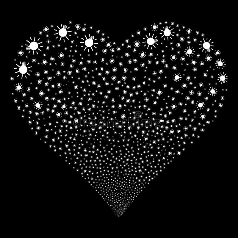Light Bulb Fireworks Heart. Light Bulb fireworks with heart shape. Raster illustration style is flat white iconic symbols on a black background. Object salute stock illustration