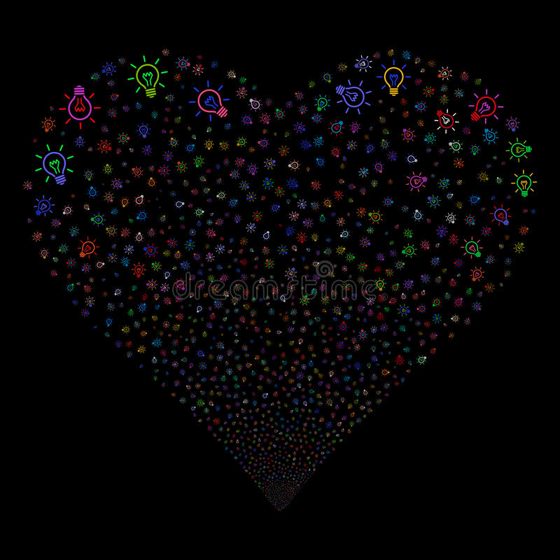 Light Bulb Fireworks Heart. Light Bulb fireworks with heart shape. Vector illustration style is flat bright multicolored iconic symbols on a black background stock illustration