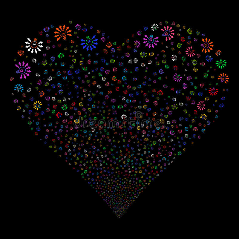 Light Bulb Fireworks Heart. Light Bulb fireworks with heart shape. Vector illustration style is flat bright multicolored iconic symbols on a black background vector illustration