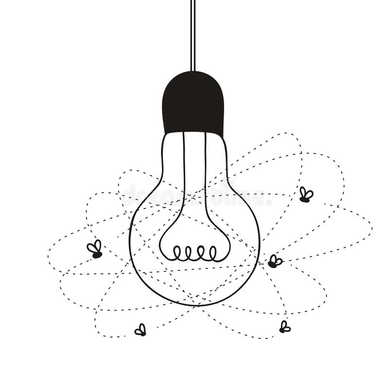 Light bulb with flies royalty free illustration