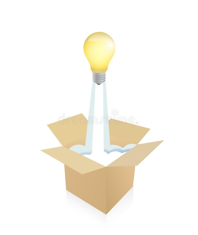 light bulb flying from a cartboard box stock photography