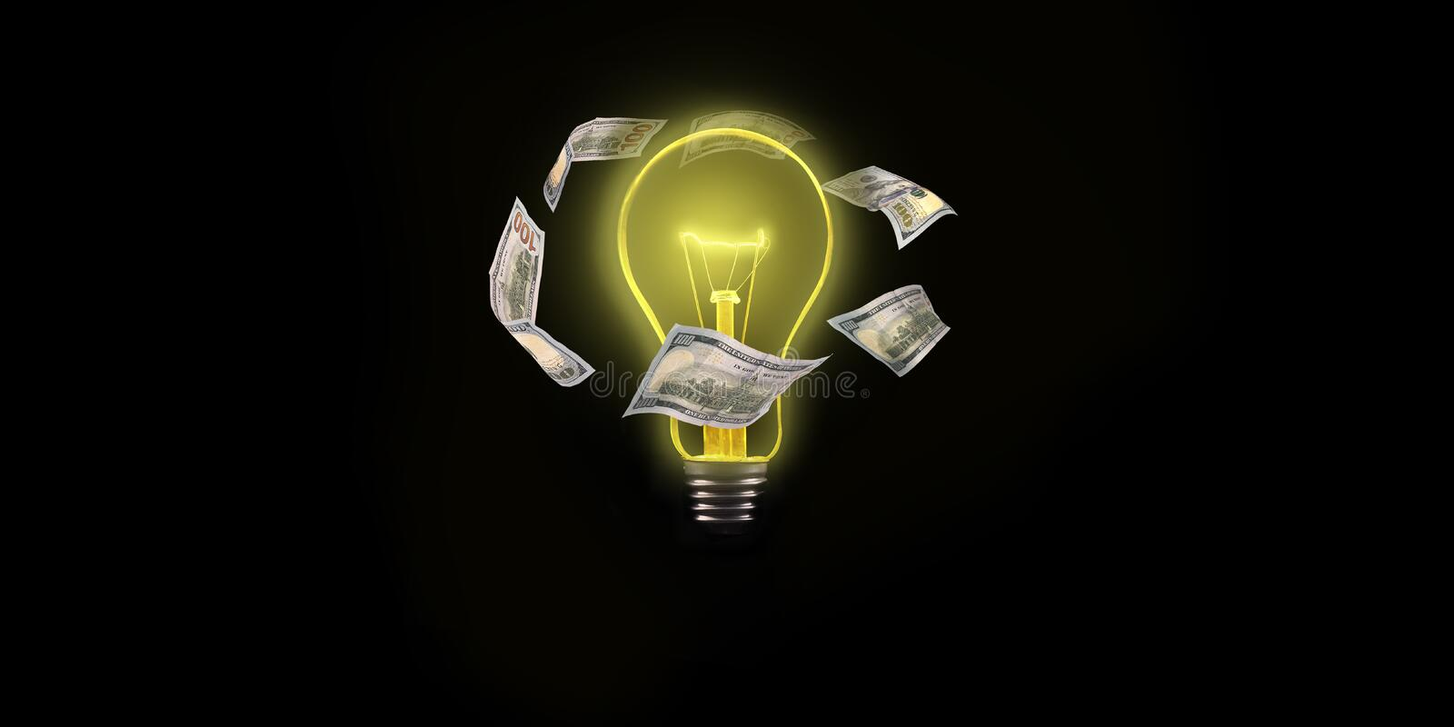 Light bulb with flying dollar bills on the outside on a black background.  vector illustration