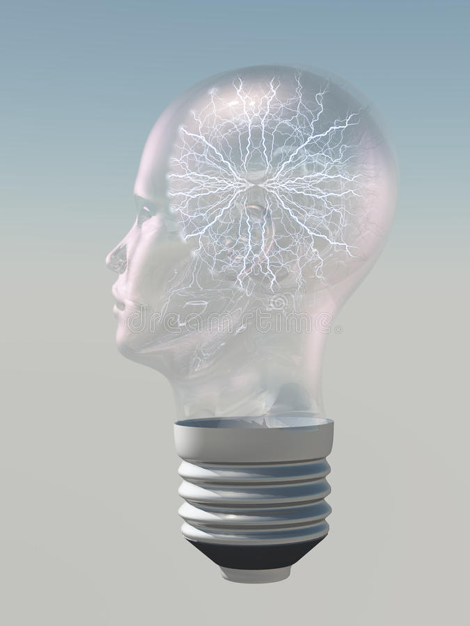 Download Light Bulb In Form Of Human Head Electric Stock Illustration - Illustration: 26122758