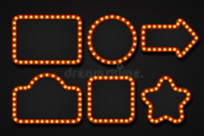 Light bulb frame. Makeup mirror marquee circus signboard cinema casino theater billboard lump border. 3D light frames stock illustration