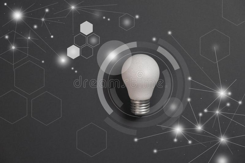Light bulb future technologies and network connection on virtual interface background, innovative technology in science. stock image