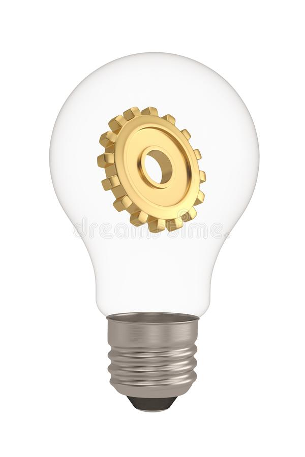 Light bulb and gear isolated on white background 3D illustration royalty free illustration