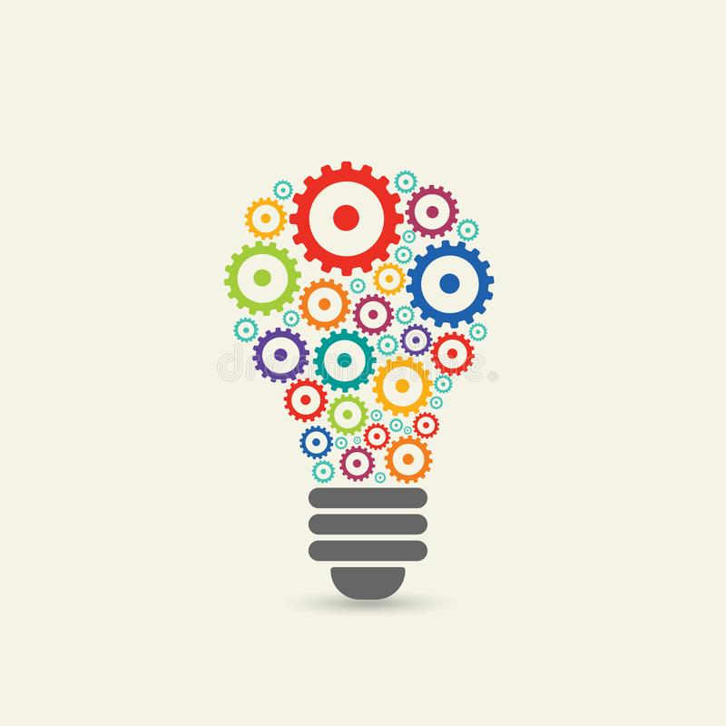 light bulb with gears and cogs working together. vector illustration