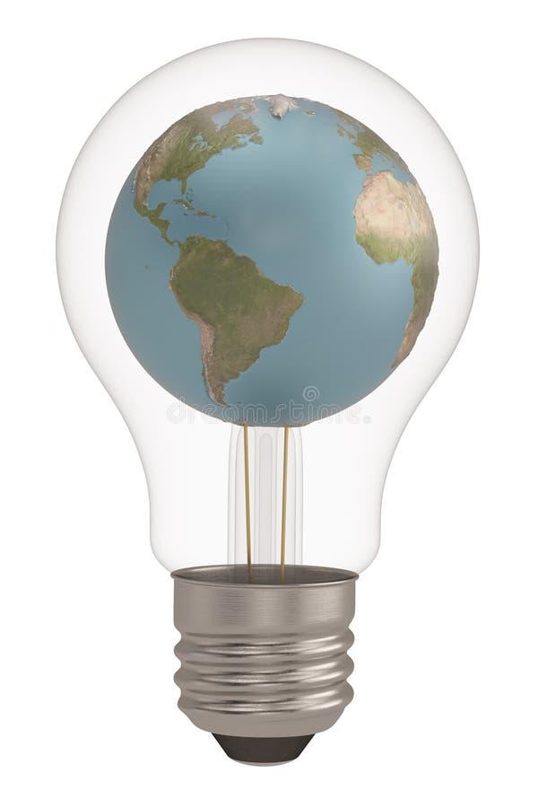 Light bulb and globe isolated on white background 3D illustration stock illustration