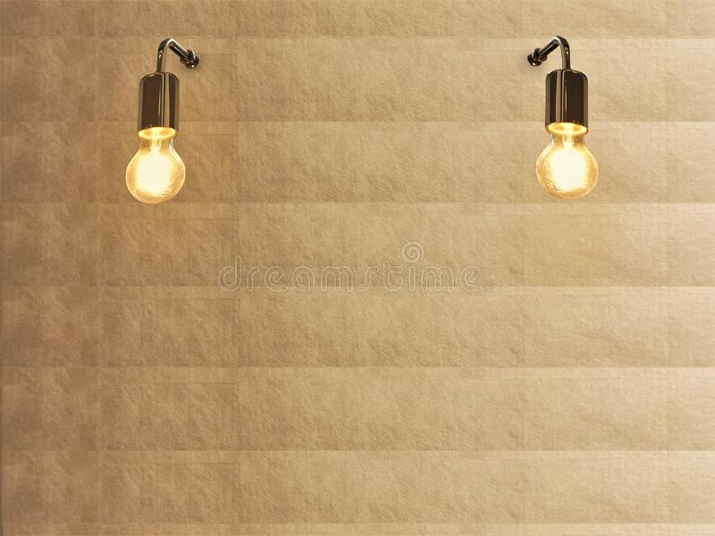 Light bulb and gold texture wall. Light Background Images.backdrop stock photography