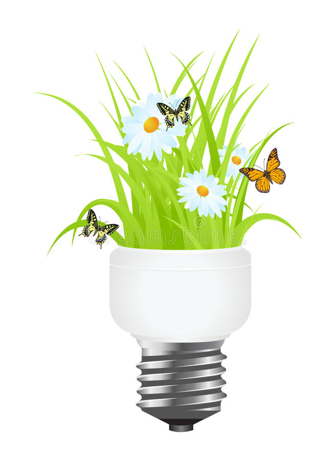 Download Light bulb with grass stock vector. Illustration of environment - 24028900