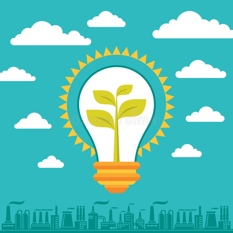 Light Bulb Green Energy - Illustration Business Concept. With lamp, clouds and factory silhouette stock illustration
