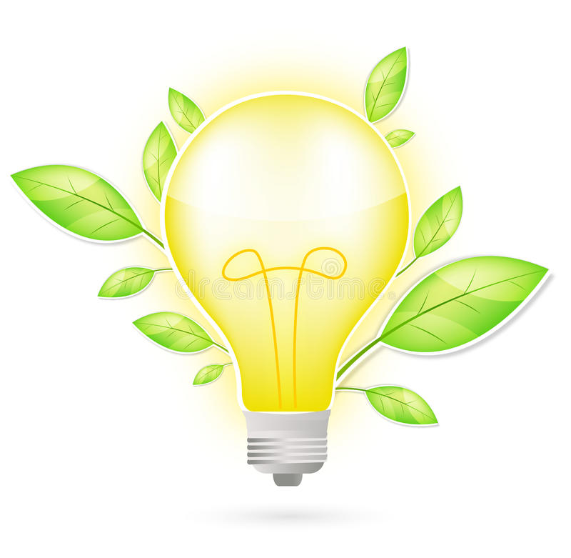 Download Light bulb and green leaf stock vector. Image of globe - 16522150