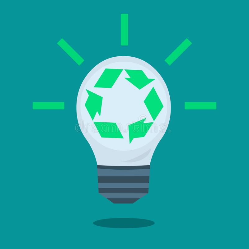 Light Bulb With Green Recycle icon Inside vector illustration stock illustration