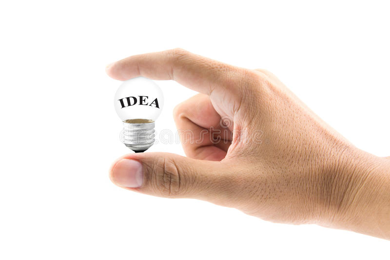 Light bulb in hand concept search idea royalty free stock image